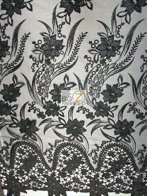 FLOWER EVOLUTION GUIPURE LACE FABRIC - Black - BY THE YARD DRESS DECOR BRIDAL