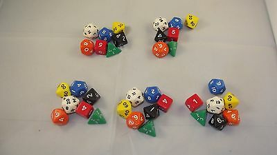 Opaque Poly Dice 5 x 7 Dice Sets Starter Dungeons Dragons D&D RPG Pathfinder 5e