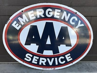 Vintage Porcelain AAA EMERGENCY SERVICE Gas Oil Gasoline AUTO Sign