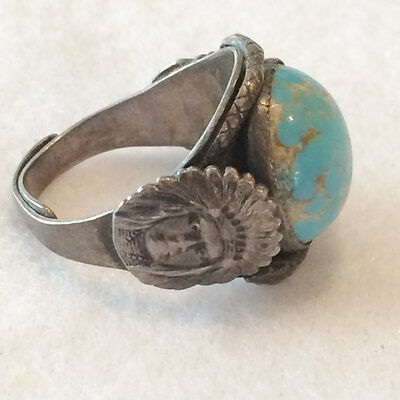 Vintage Silver Adjustable Real Turquoise Native American Indian Hand Made Ring