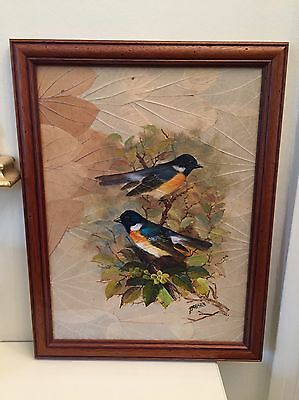 Vintage / Signed Oil Painting Picture Of Two Birds Painted On Leaves