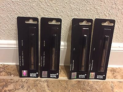 Lot 2 MontBlanc BALLPOINT Pen Refill MEDIUM Black Fine Choice NEW SEALED