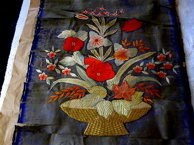 "Antique Chinese Silk Embroidered Panel 23x28""; sold 'as is'"