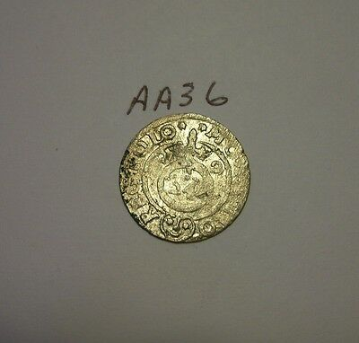 silver medieval coin. (aa36)