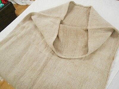 23x50 Vtg Antique French European HEMP LINEN Plain NUBBY FEED SACK GRAIN BAG