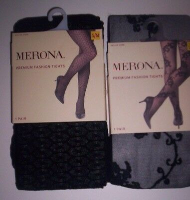 2 New Pairs of Merona Premium Fashion Tights Size S/M  Black Patterned