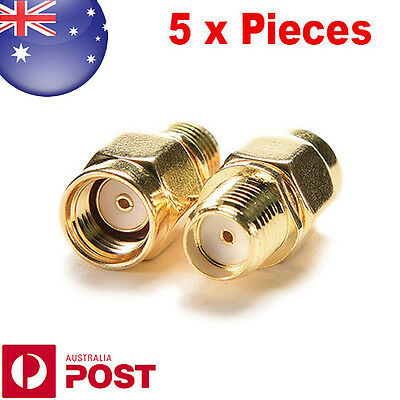 Pack of 5 RP SMA Male to SMA Female Jack Straight RF Coax Connector - 0078-5