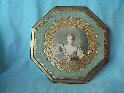 Vintage Antique Italy Florentine Gold Gilt Plaque Octagonal Lady - Shabby Chic