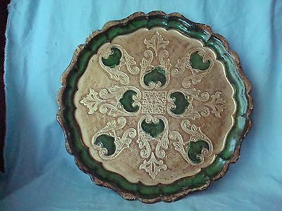 Vintage Florentine Gilt Italian Toleware Tray Green and Gold