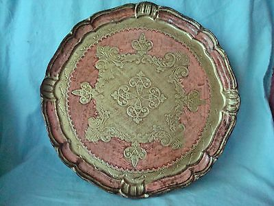 MAUVE PINK FLORENTINE GILT TRAY MADE IN ITALY - Shabby Chic