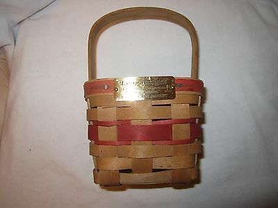Longaberger Basket 1986 Small Square Christmas Candy Cane Red Weave