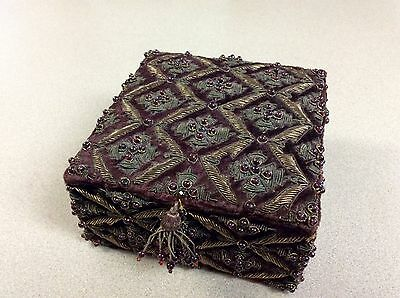 Antique Victorian Wine Velvet Gold Wire Embroidery Glass Beaded Jewelry Casket