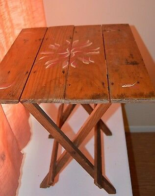 Antique Vintage Hand Painted Folding Wood Table