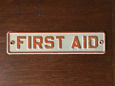 "RARE 1940s OLD ORIGINAL ""FIRST AID"" EMBOSSED METAL SIGN, INDUSTRIAL, VINTAGE"