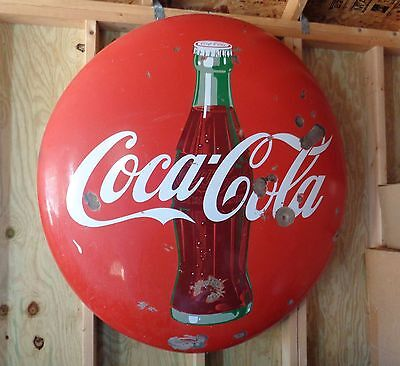 "1950`s VINTAGE PORCELAIN 48"" ROUND DRINK COCA COLA BUTTON SIGN WITH BOTTLE"
