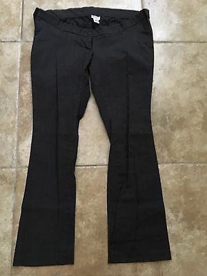 Motherhood Maternity Large L Dark Gray Dress Pants Boot Cut Below Belly Stretch