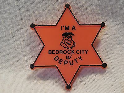 Flintstones Plastic Bedrock City Deputy Pin-Back Badge w/Fred Flintstone