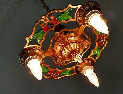 Antique 20s 30s Ceiling Light Fixture Art Nouveau Chandelier Rewired Lamp