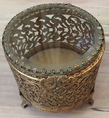 Vintage Round Gold Filigree & Glass Jewelry Trinket Box Footed Ormolu Casket