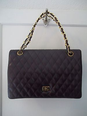 VTG Meyers Quilted Faux Brown Leather Chain Link Evening Bag Purse Clutch
