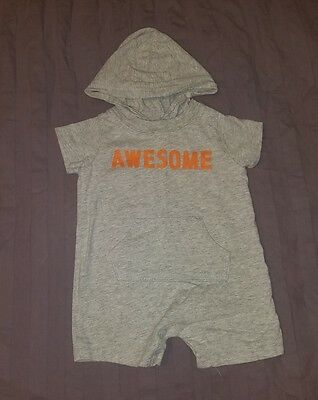 VGUC Carters Baby Boy Clothes 3 Months One Piece Short Sleeve Hooded Romper
