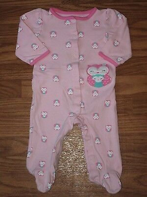 Child of Mine by Carter's Baby Girl 6-9 Month Snap Footed Sleeper Pink Owl EUC
