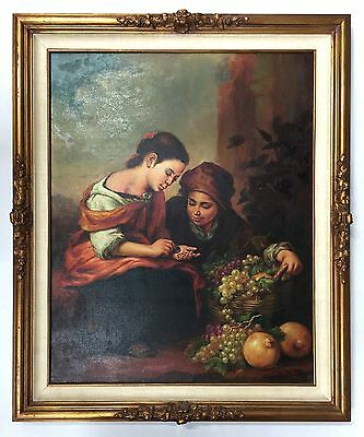 """Bartolome Murillo Oil On Canvas Painting Of """"the Little Fruit Seller"""""""