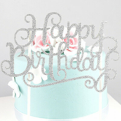 HAPPY BIRTHDAY Cake Pick Topper Decoration GOLD/Silver Glitter Banner Card