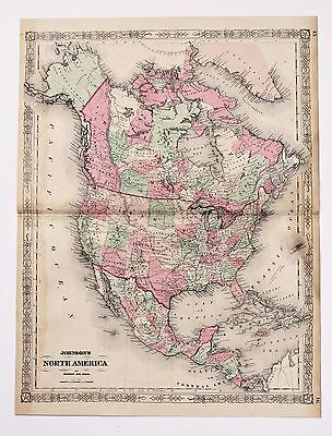 1864 United States Map North America Idaho Territory Texas Colorado LARGE RARE