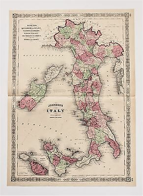 1864 Italy Map Sicily Sardinia Malta Rome Piedmon Railroad Routes LARGE ORIGINAL