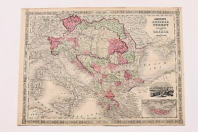 1864 Austria Turkey Map Hungary Bohemia Bosnia Railroad Routes LARGE ORIGINAL