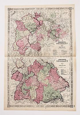 1864 Germany Map Bavaria Luxemburg Nassau Railroad Routes LARGE ORIGINAL RARE