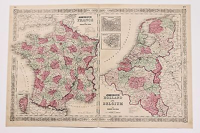1864 France Belgium Map Europe Amsterdam Paris Railroad Routes LARGE ORIGINAL