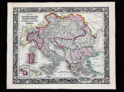 1860 Austrian Empire Map Hungary Italy Turkey Albania Maltese Railroads ORIGINAL