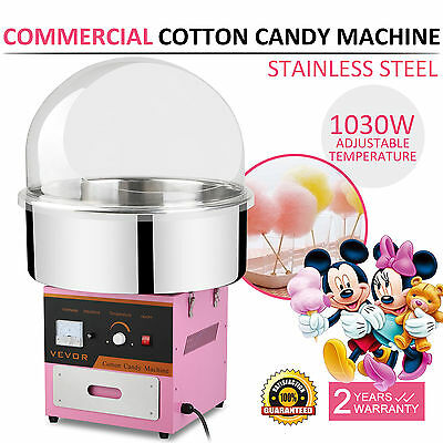 Cotton Candy Machine Floss Maker + Cover Stainless Steel Electric Commercial
