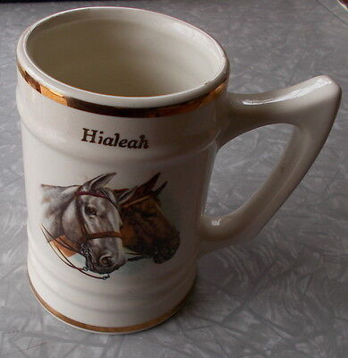 Hialeah Horse Track Handsome Horses On Vintage Usa Mug Gold Trim