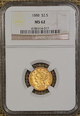1888 $2.50 NGC MS62 Liberty Head Gold Quarter Eagle - Low Mintage of 16,001