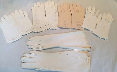 Antique and vintage 5 glove lot white ivory cotton shorties opera embroidered