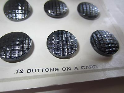 12 Vintage Silver/Gray Glass BUTTONS Original Card