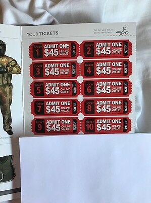 Sheet Of 20 Admit Tickets To Dingley Paintball