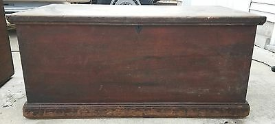 Antique Dovetail Primitive Steamer Trunk Blanket Box Mule Chest Tool Box OLD!