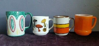 Mid century modern lot of 4 coffee mugs