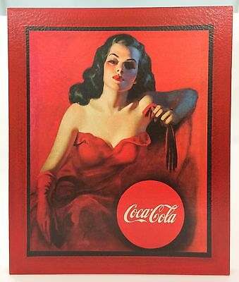 Coca-Cola Canvas Poster Lady In Red Dress Wood Frame Acrylic Glaze New