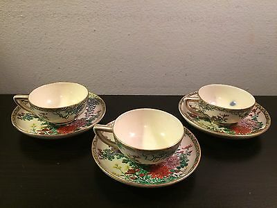 Set of Beautiful Antique Meiji Japanese Satsuma 3 Tea Cups & 3 Saucers Signed