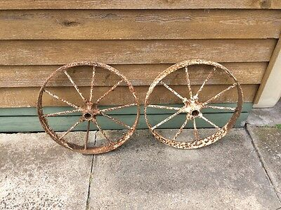 Pair Of Vintage Old Cast Wrought Iron Wheels; Cart; Heavy Antique; Garden