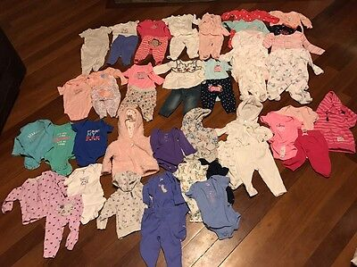 Nice Huge Lot Of Newborn Baby Girls Clothes(Carters)-size 3 Months