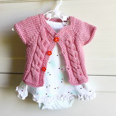 Hand Knitted Newborn 0-3 months 0000 Baby Girl Pink Cable Cardigan, Aus Wool