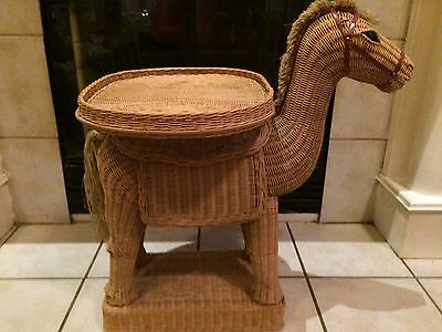 Vintage 1967 Wicker Donkey With Removable Tray, Furniture Antique