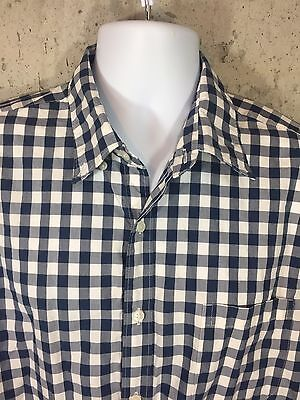 J.Crew Men's Button Front Long Sleeve Shirt Blue Classic Check Oxford Cotton L
