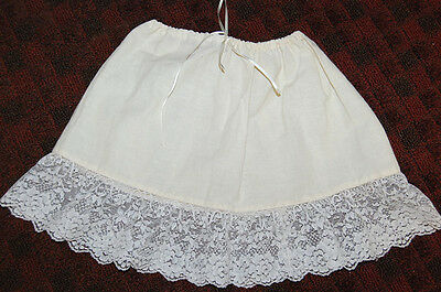 VINTAGE LITTLE GIRL'S COTTON UNDER SKIRT OR SUMMER SKIRT (?) W/ LACE Free Ship